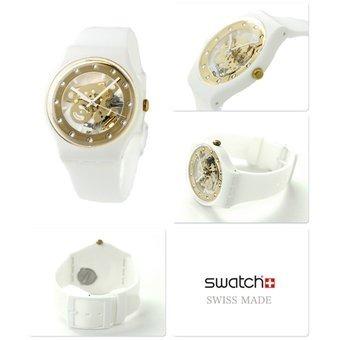 Blanco Y Swatch Sunray Suoz148 Reloj Glam Dorado Mujer RA5jL34