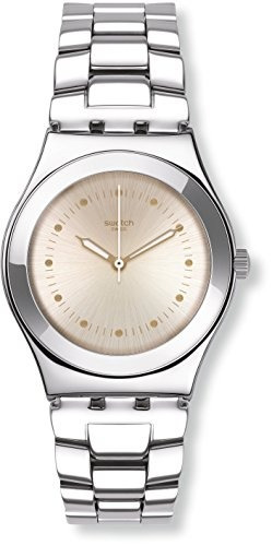 reloj swatch puntagialla beige dial acero inoxidable para mu
