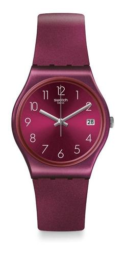 reloj swatch redbaya de plástico violeta calendario gr405