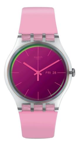 reloj swatch rosa polarose de plastico suok710 2 años gtia