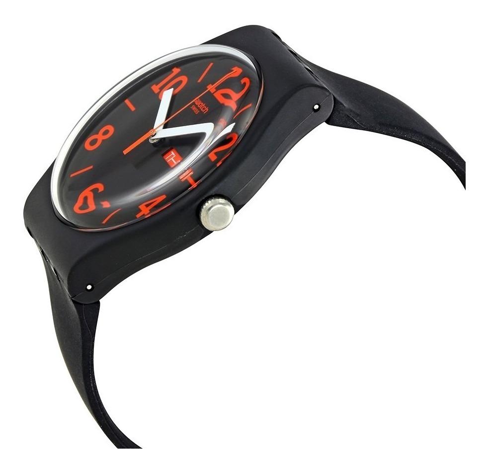 Negro Reloj Elegante En Original Silicona Swatch Suob723 EID29H