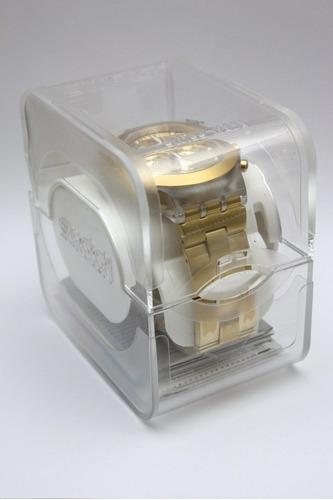 reloj swatch suok702 malla elastica dorad doble cal wr30mts