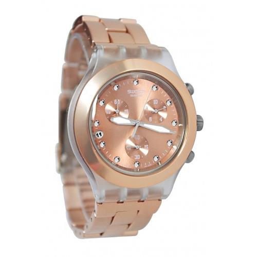 reloj swatch svck4047ag aluminio oro rosado mujer