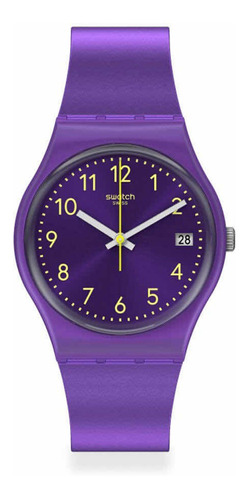 reloj swatch violeta con números purplazing gv402