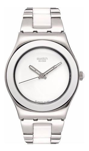 reloj swatch yls141g para dama acero inoxidable blanco