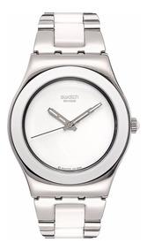 Inoxidable Para Swatch Yls141g Blanco Dama Reloj Acero PXZwukiOTl