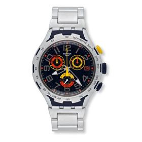 Reloj Swatch Yys4006ag Hombre Darkony Plateado Original