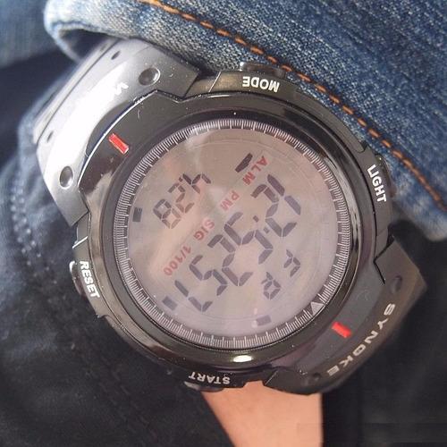 reloj synoke sport cronografo agua para correr luz de fondo