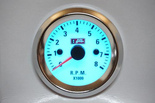 reloj tacómetro 52mm 0-8000 rpm indiglow - biocartuning