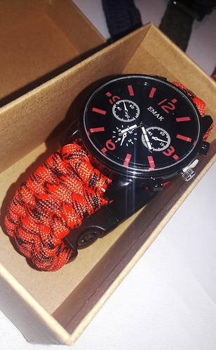 reloj táctico militar - naranja - kit brujula- cuerda- silba