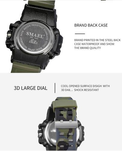 reloj tactico militar smael sumergible camuflado colores