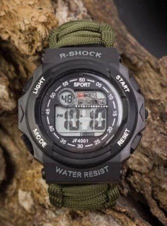 reloj tactico r-shock militar malla paracord negro silbato