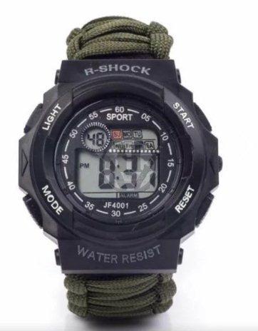 reloj tactico r-shock militar malla paracord verde silbato