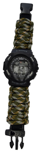 reloj tactico r-shock militar malla paracord woodland silbat