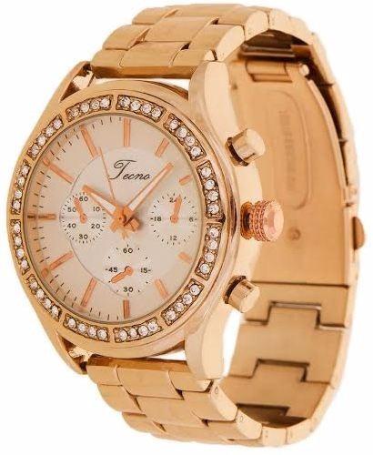 reloj tecno lady cristales swarovski  dorado rosee  garantía