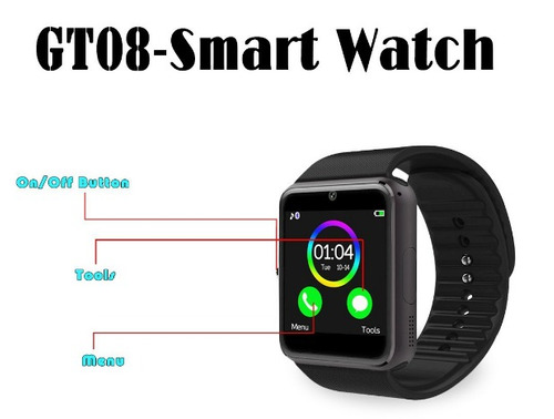 reloj teléfono smartwatchgt08 negro nuevo!!iphone/samsung