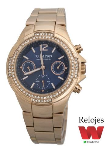 reloj tempus mujer sm-7040 oro rosa azul