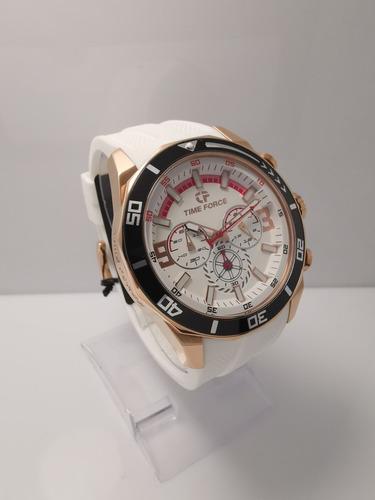 reloj time force hombre tf5027mrn-02 blanco original