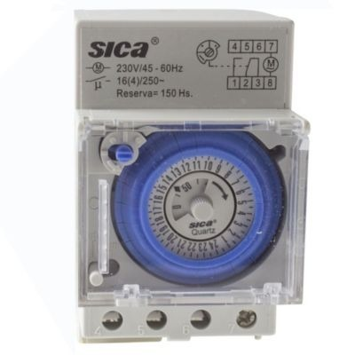 26caecbd43c1 Reloj Timer Programador Horario Mecánico Sica Riel Din 16 A ...