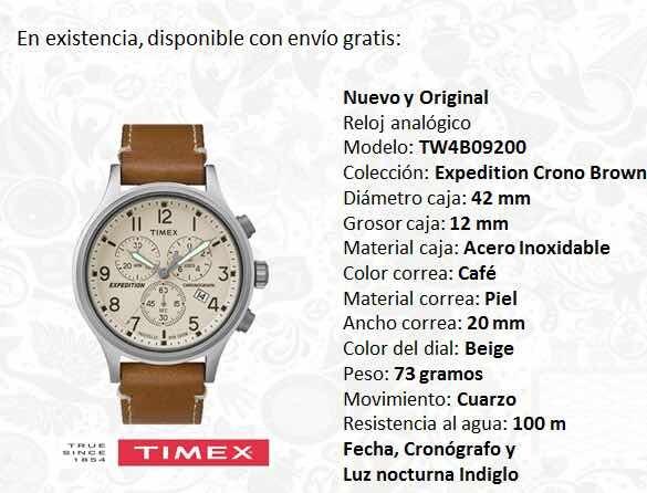 2df7a9eb7577 Reloj Timex Café Expedition Tw4b09200 Cronógrafo Caballero ...