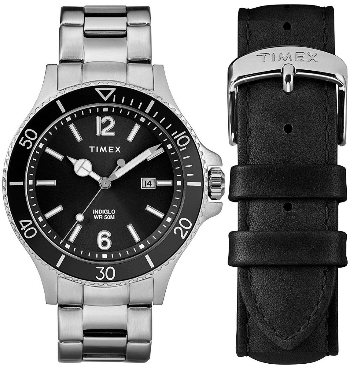 cdfbe6610235 reloj timex harborside twg019700 plateado negro para hombre. Cargando zoom.