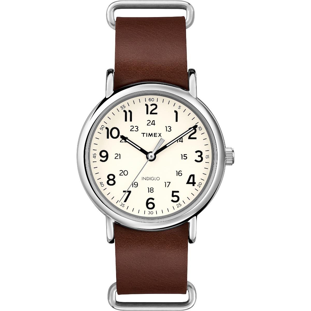 e4b18eb9039c Reloj Timex Weekende Para Hombre Correa De Cuero Marrón -   2