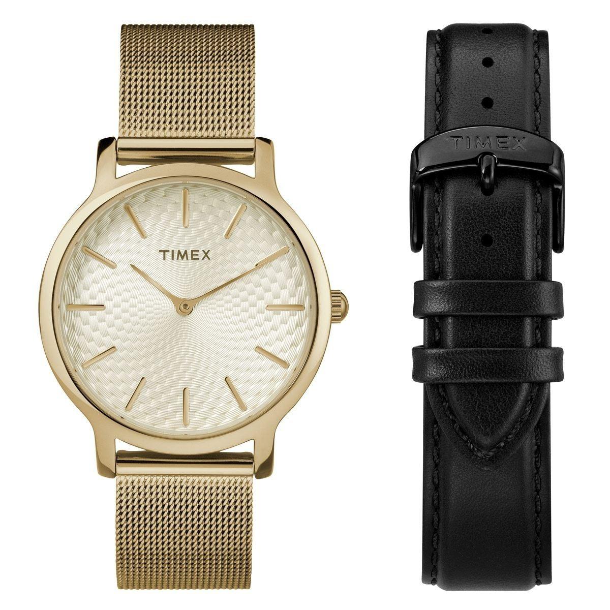 84da2ff7fe38 reloj timex metropolitan skyline twg019400 dorado negro dama. Cargando zoom.