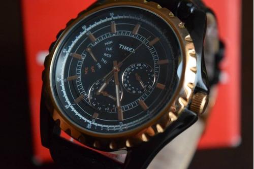 reloj timex retrograde t2n113 piel  tiempo exacto relojes