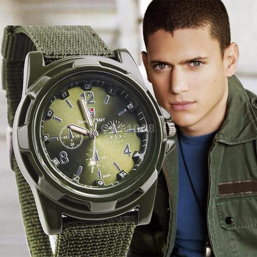 reloj tipo militar pulso deportivo hombres correa lona imper
