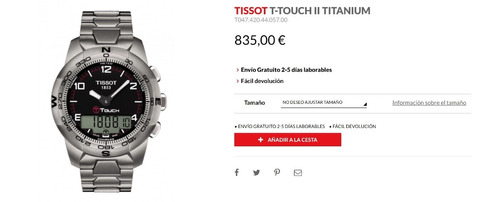 reloj tissot t-touch 2 titanium ti smart watch touch screen