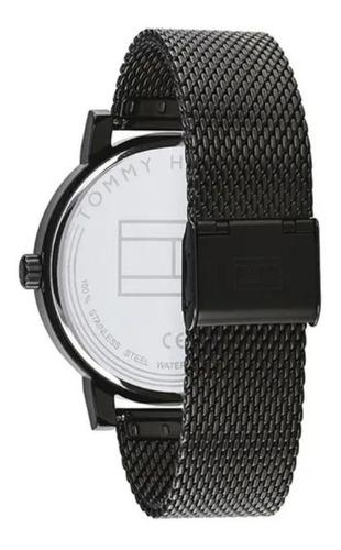 reloj tommy hilfiger hombre malla tejida fondo negro 1791734