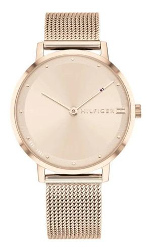 reloj tommy hilfiger mujer rosé con malla tejida 1782150
