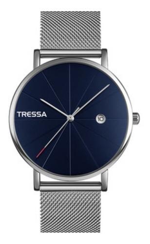 reloj tressa malla tejida fondo azul acero mod penty
