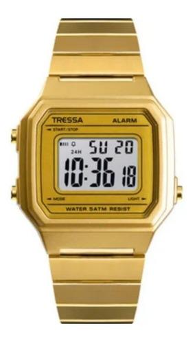 reloj tressa vintage digital modelo mojito dorado