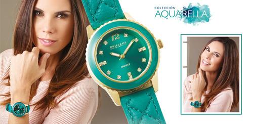 reloj turquesa swarovski mujer dorado eco cuero envio gratis