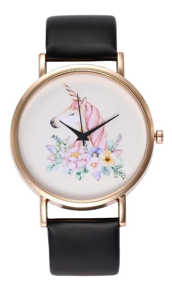 Reloj Unicornio Dama Moda Mujer Vinil Piel Pastel B182