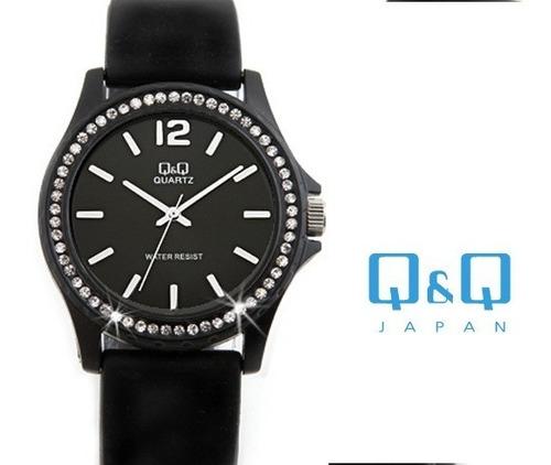 reloj unisex original q&q negro con cristales brillantes