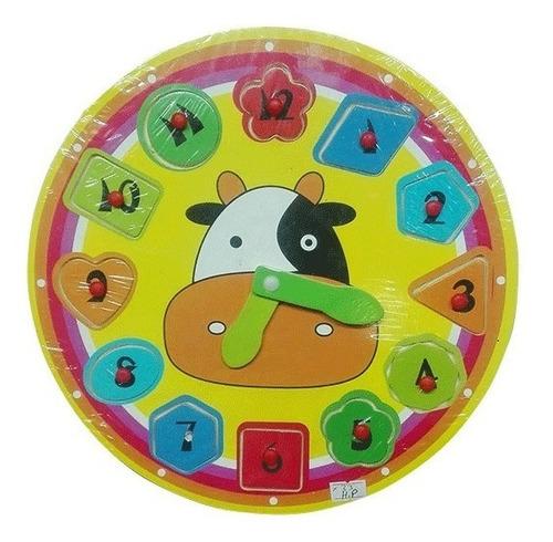 reloj vaca didáctico de madera sy-5144