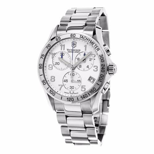 reloj victorinox swiss army plateado cronógrafo 241315