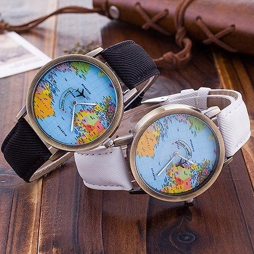 reloj vintage casual mapa mundial para hombre y mujer