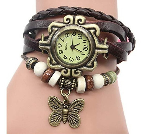 reloj vintage con dije de mariposa para dama