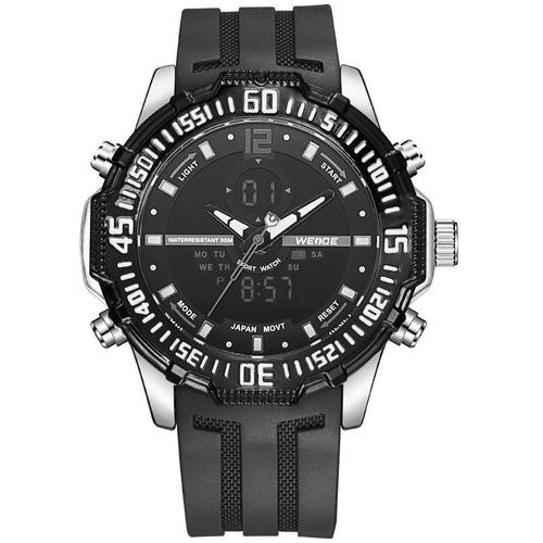 reloj weide wh6105-7c negro y blanco malla silicona
