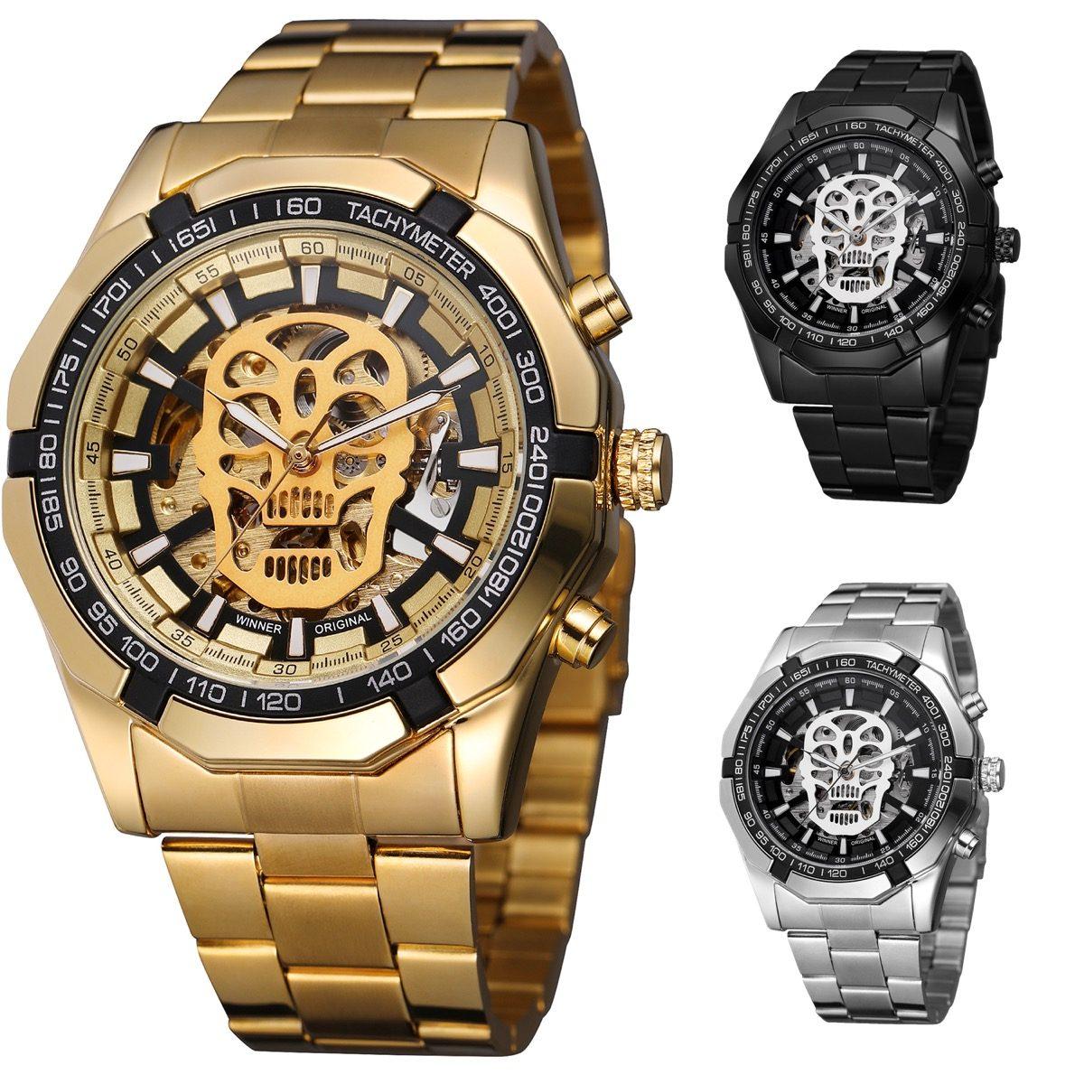 e76077100763 Reloj Winner Hombre Automático Skeleton Calavera Skull Zdt ...