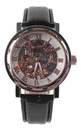 reloj winner skeleton plata mecanico cuerda extensible negro