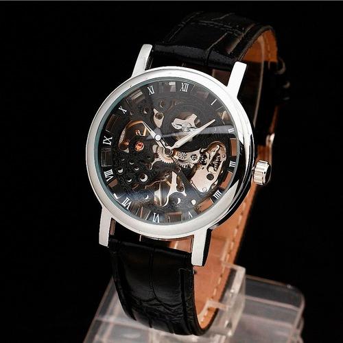 reloj winner skeleton transparente 100 % original + obsequio