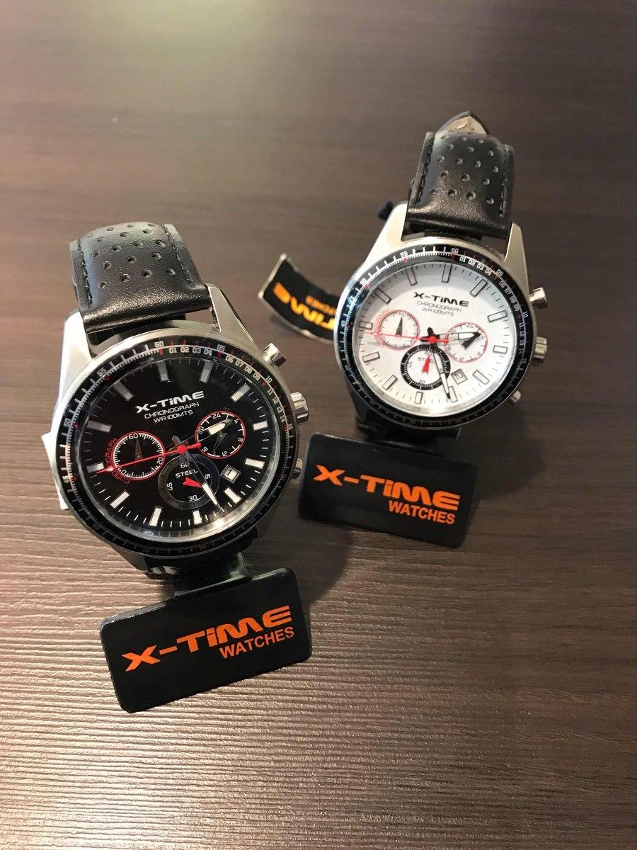 X Sumergible Hombre Time Acero Crono Cuero Malla Reloj n0k8wPO