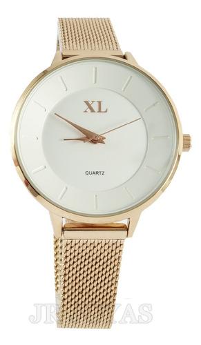 reloj xl extra large dama acero malla tejida rose xl787