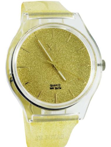 reloj xl extra large dama xl802 glitter malla caucho