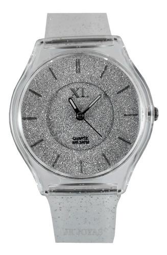 reloj xl extra large malla y fondo con glitter silicona