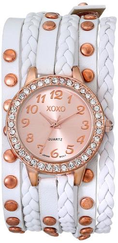 reloj xoxo xo5659 analógico con pantalla de cuarzo rosa dora